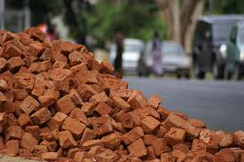 Pile of bricks in the street