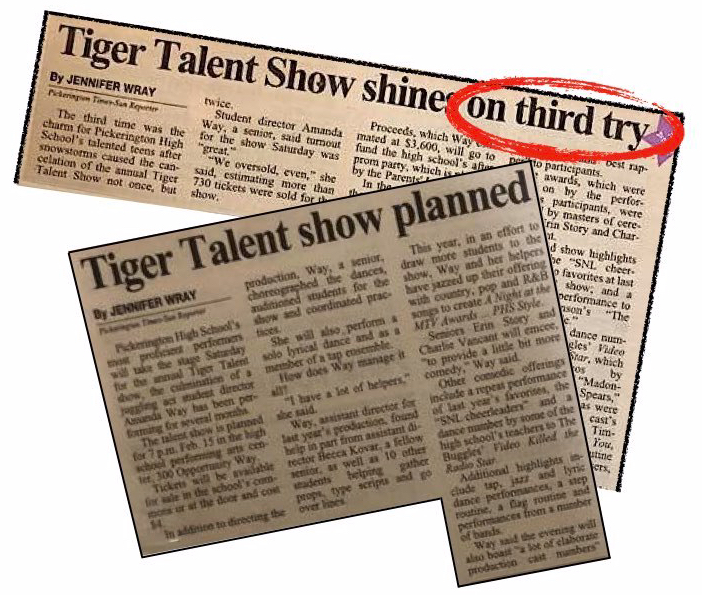 Articles about the planning--and postponing--of a talent show and its eventual success.