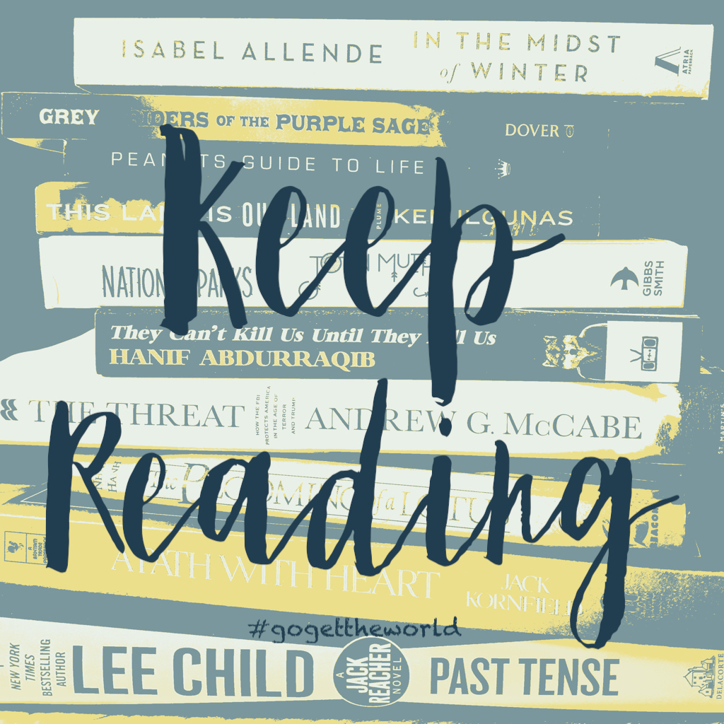 """Eclectic stack of books with title """"Keep reading."""""""