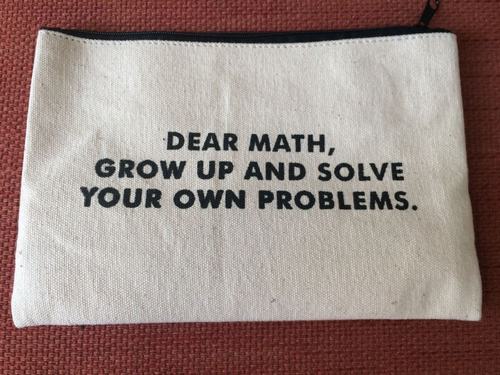 "A pencil pouch with this statement stamped on it: ""Dear math, grow up and solve your own problems."""