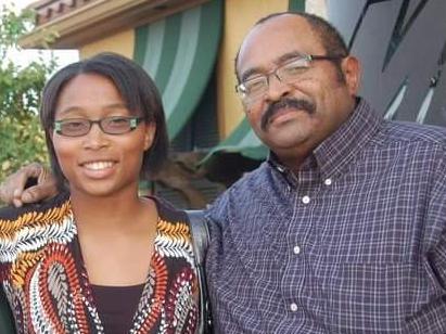 Leonardia with her father.