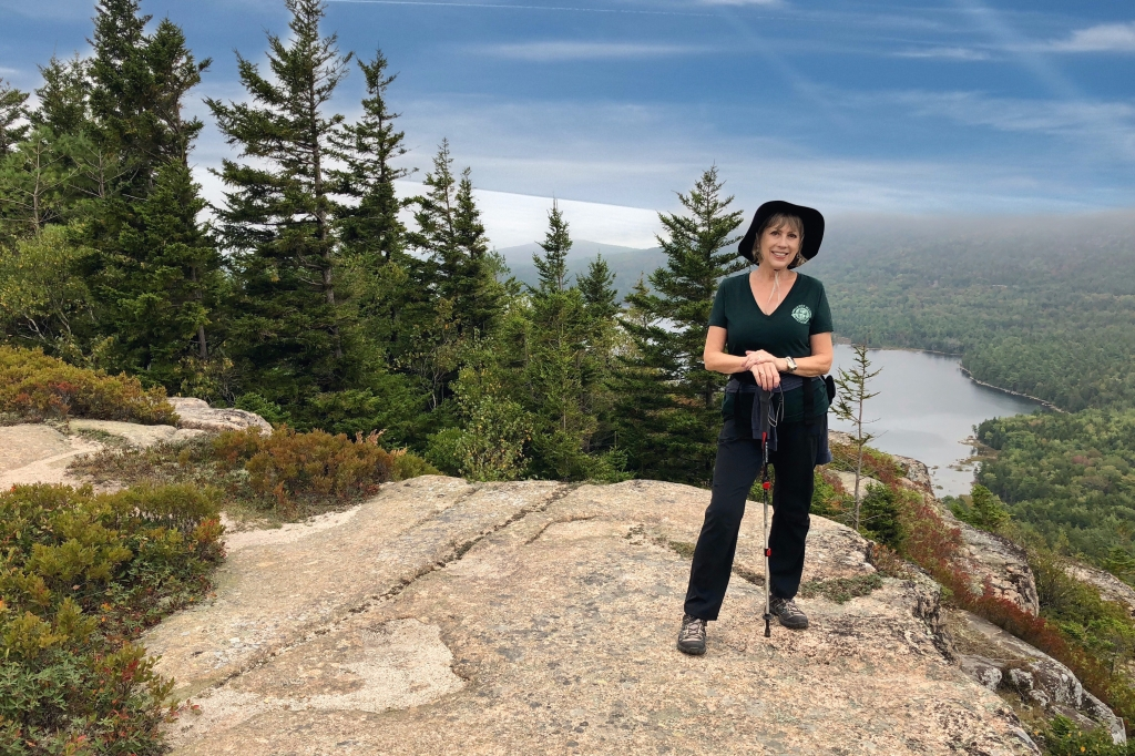Lori on a Maine mountaintop